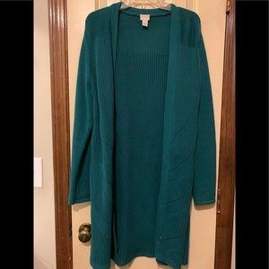Chico's Kelly green Coat-like Open cardigan Sz 2
